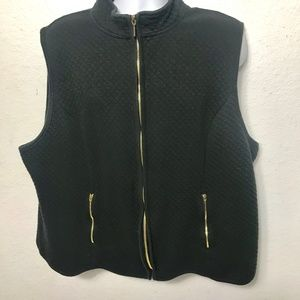 Karen Scott Sport Woman Quilted Zip  Vest 2X Black
